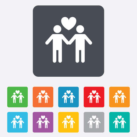 Couple sign icon. Male love male. Gays with heart. Rounded squares 11 buttons. photo