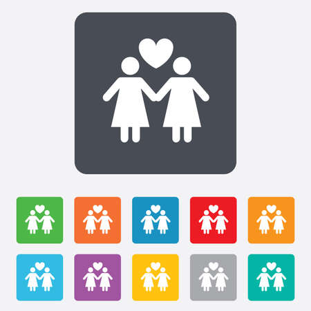 Couple sign icon. Woman love woman. Lesbians with heart. Rounded squares 11 buttons. photo