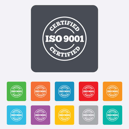 ISO 9001 certified sign icon. Certification stamp. Rounded squares 11 buttons. photo