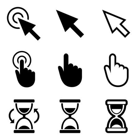 www: Cursor pointer icons. Mouse, hand, arrow, hourglass. Click, press and touch actions.  Illustration