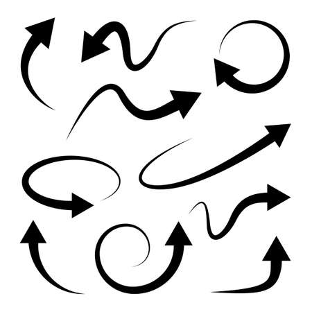 curve: Curved arrows set. Full rotation. 360 degrees. Refresh, repeat symbol. Vector Illustration