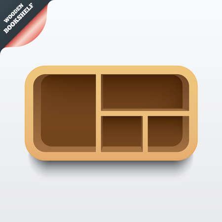 �tag�re bois: �tag�re en bois. Biblioth�que avec des coins arrondis. Plateau 3d avec l'ombre. Vecteur Illustration