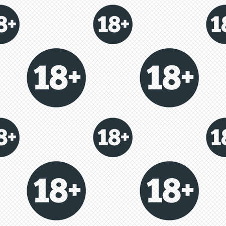 18 plus years old sign. Adults content icon. Seamless grid lines texture. Cells repeating pattern. White texture background.  Vector