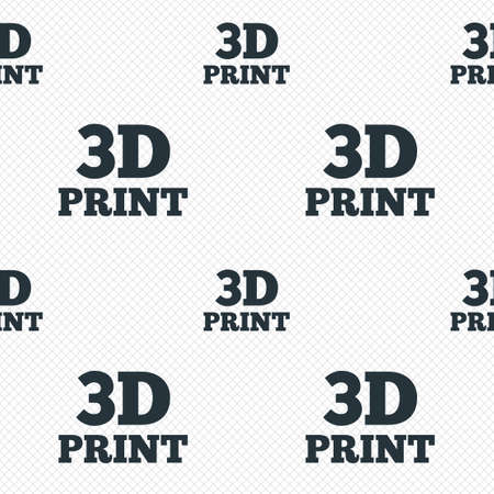 3D Print sign icon. 3d Printing symbol. Additive manufacturing. Seamless grid lines texture. Cells repeating pattern. White texture background. Vector Vector