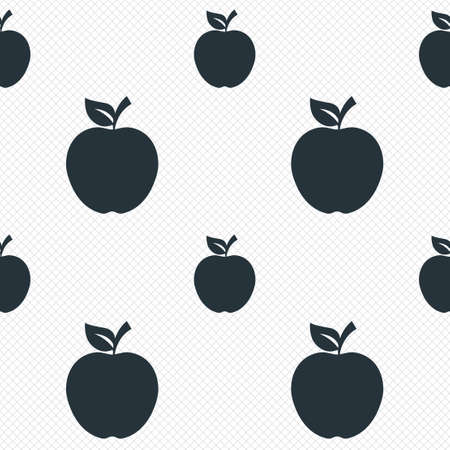 Apple sign icon. Fruit with leaf symbol. Seamless grid lines texture. Cells repeating pattern. White texture background. Vector Vector