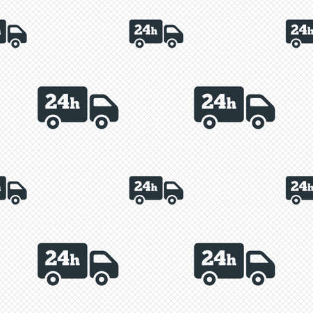 24 hours delivery service. Cargo truck symbol. Seamless grid lines texture. Cells repeating pattern. White texture background. Vector Illustration