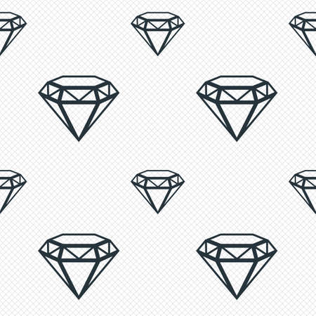 Diamond sign icon. Jewelry symbol. Gem stone. Seamless grid lines texture. Cells repeating pattern. White texture background. Vector Vector