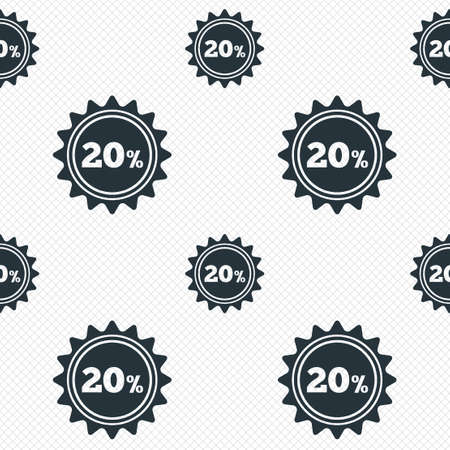 20 percent discount sign icon. Sale symbol. Special offer label. Seamless grid lines texture. Cells repeating pattern. White texture background. Vector Vector