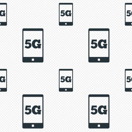 5G sign icon. Mobile telecommunications technology symbol. Seamless grid lines texture. Cells repeating pattern. White texture background. Vector Vector