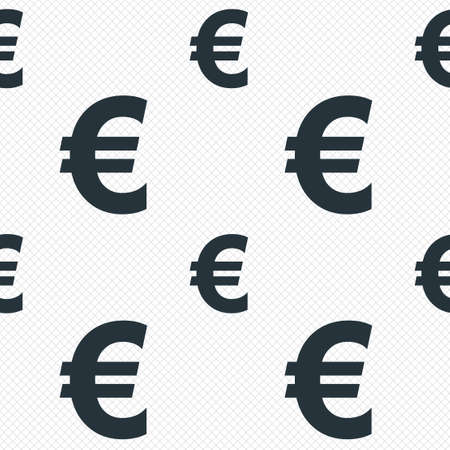 Euro sign icon. EUR currency symbol. Money label. Seamless grid lines texture. Cells repeating pattern. White texture background. Vector