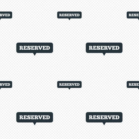 Reserved sign icon. Speech bubble symbol. Seamless grid lines texture. Cells repeating pattern. White texture background. Vector
