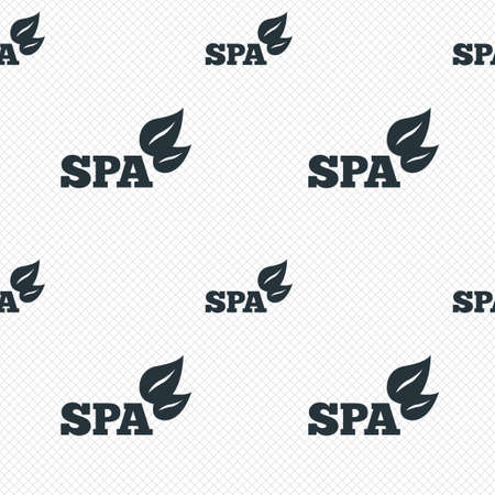 Spa sign icon. Spa leaves symbol. Seamless grid lines texture. Cells repeating pattern. White texture background. Vector Vector