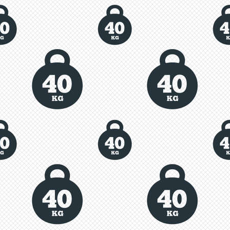kilogram: Weight sign icon. 40 kilogram (kg). Sport symbol. Fitness. Seamless grid lines texture. Cells repeating pattern. White texture background. Vector Illustration