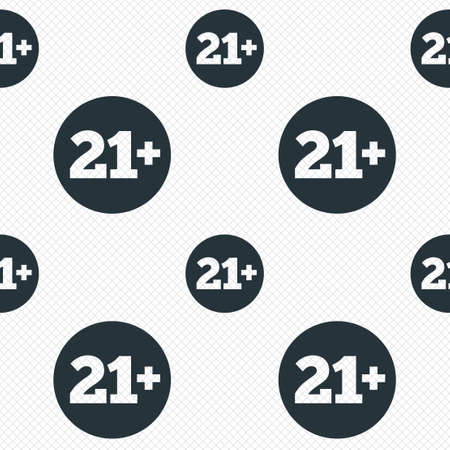 21 plus years old sign. Adults content icon. Seamless grid lines texture. Cells repeating pattern. White texture background. Vector Vector
