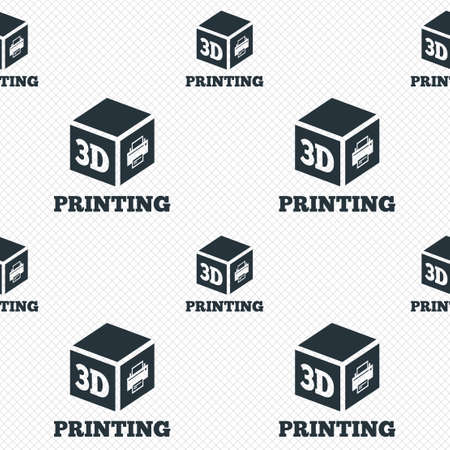 3D Print sign icon. 3d cube Printing symbol. Additive manufacturing. Seamless grid lines texture. Cells repeating pattern. White texture background. Vector Vector