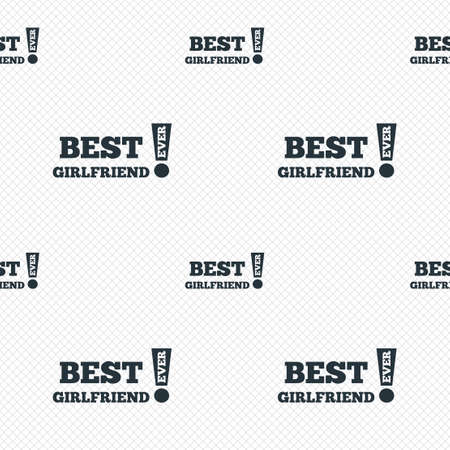 Best girlfriend ever sign icon. Award symbol. Exclamation mark. Seamless grid lines texture. Cells repeating pattern. White texture background. Vector Vector