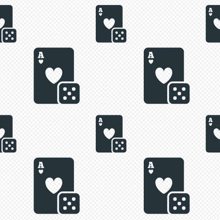 Casino sign icon. Playing card with dice symbol. Seamless grid lines texture. Cells repeating pattern. White texture background. Vector Vector