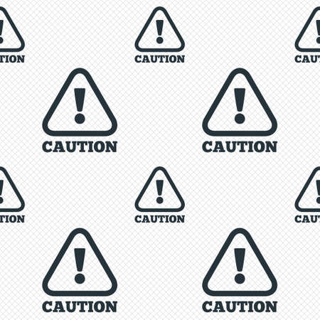 Attention caution sign icon. Exclamation mark. Hazard warning symbol. Seamless grid lines texture. Cells repeating pattern. White texture background. Vector Vector