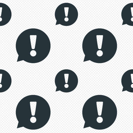inform: Exclamation mark sign icon. Attention speech bubble symbol. Seamless grid lines texture. Cells repeating pattern. White texture background. Vector Illustration