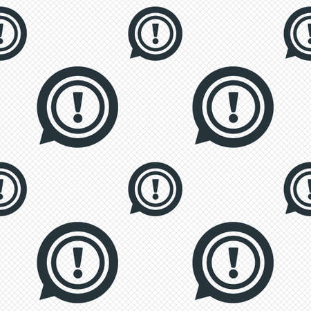 Exclamation mark sign icon. Attention speech bubble symbol. Seamless grid lines texture. Cells repeating pattern. White texture background. Vector Illustration