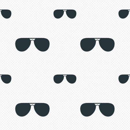 Aviator sunglasses sign icon. Pilot glasses button. Seamless grid lines texture. Cells repeating pattern. White texture background. Vector