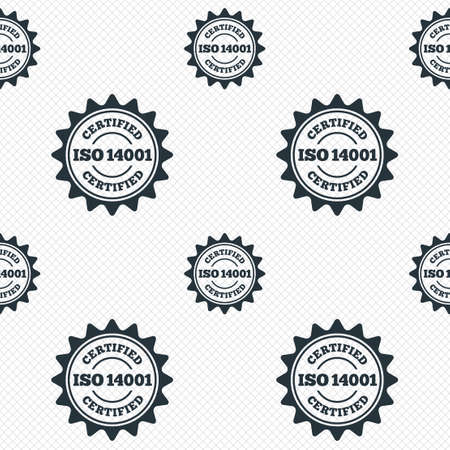 ISO 14001 certified sign icon. Certification star stamp. Seamless grid lines texture. Cells repeating pattern. White texture background. Vector Vector