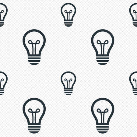 electric grid: Light lamp sign icon. Idea symbol. Seamless grid lines texture. Cells repeating pattern. White texture background. Vector Illustration