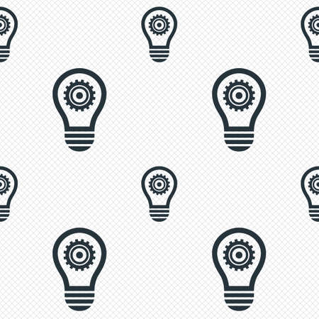 electric grid: Light lamp sign icon. Bulb with gear symbol. Idea symbol. Seamless grid lines texture. Cells repeating pattern. White texture background. Vector
