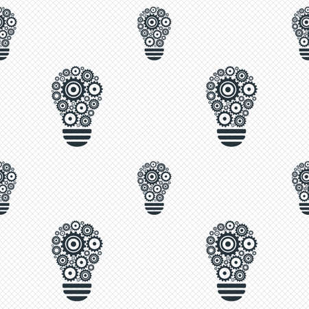 thin bulb: Light lamp sign icon. Bulb with gears and cogs symbol. Idea symbol. Seamless grid lines texture. Cells repeating pattern. White texture background. Vector