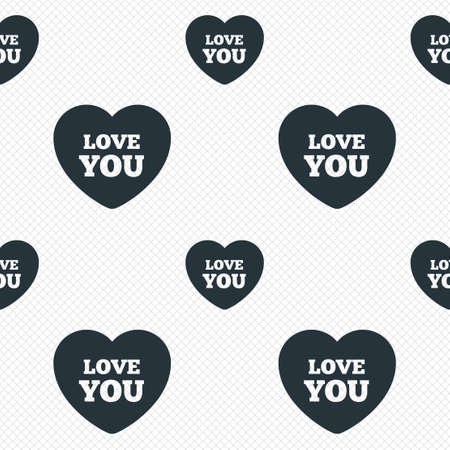 Heart sign icon. Love you symbol. Seamless grid lines texture. Cells repeating pattern. White texture background. Vector Vector