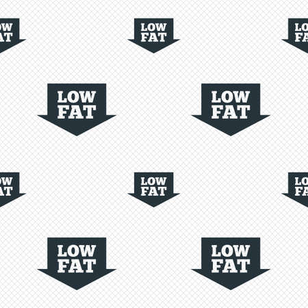 lowfat: Low fat sign icon. Salt, sugar food symbol with arrow. Seamless grid lines texture. Cells repeating pattern. White texture background. Vector