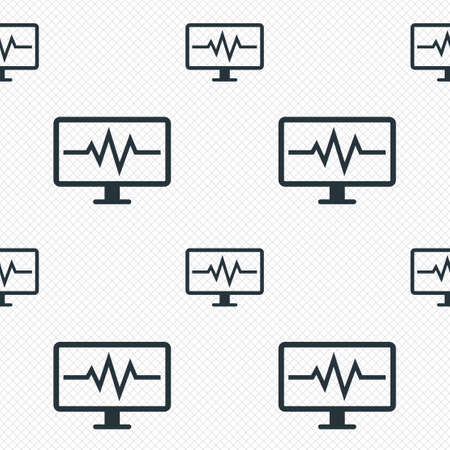 Cardiogram monitoring sign icon. Heart beats symbol. Seamless grid lines texture. Cells repeating pattern. White texture background. Vector Vector