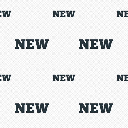 New sign icon. New arrival button symbol. Seamless grid lines texture. Cells repeating pattern. White texture background. Vector Vector