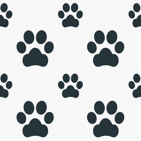 dog allowed: Dog paw sign icon. Pets symbol. Seamless grid lines texture. Cells repeating pattern. White texture background. Vector