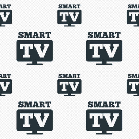 Widescreen Smart TV sign icon. Television set symbol. Seamless grid lines texture. Cells repeating pattern. White texture background. Vector Vector