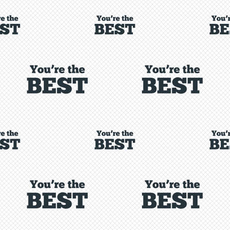 You are the best icon. Customer award symbol. Best buyer. Seamless grid lines texture. Cells repeating pattern. White texture background. Vector Vector
