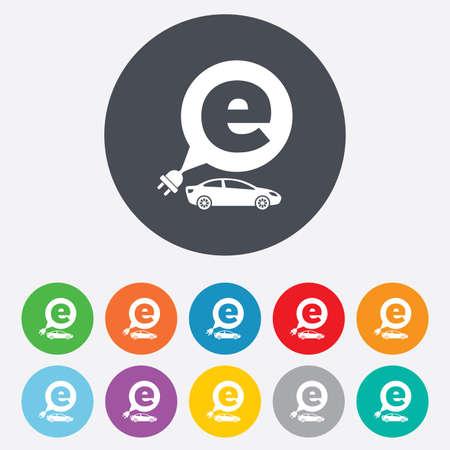 electric vehicle: Icona di auto elettriche segno. Sedan simbolo saloon. Trasporto di veicoli elettrici. Turno colorate 11 pulsanti. Vettore
