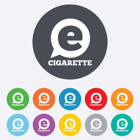 vaporizer: Smoking sign icon. E-Cigarette symbol. Electronic cigarette. Round colourful 11 buttons. Vector