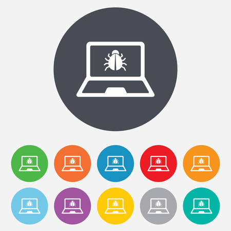 ultrabook: Laptop virus sign icon. Notebook software bug symbol. Round colourful 11 buttons. Vector