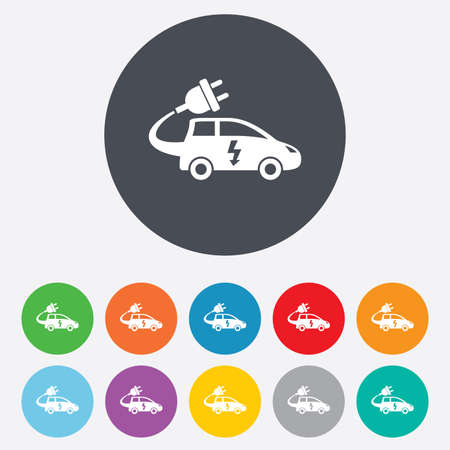 hatchback: Electric car sign icon. Hatchback symbol. Electric vehicle transport. Round colourful 11 buttons. Vector Illustration