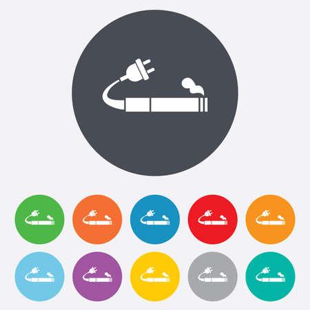 Smoking sign icon. E-Cigarette symbol. Electronic cigarette. Round colourful 11 buttons. Vector