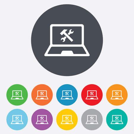 laptop repair: Icono de signo de reparaci�n del ordenador port�til. S�mbolo servicio soluci�n Notebook. Ronda de colores 11 botones. Vector Vectores
