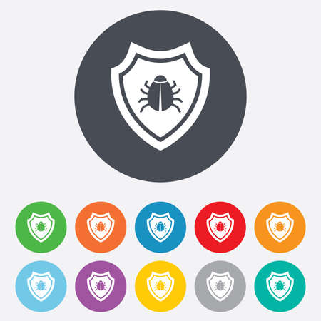 Shield sign icon. Virus protection symbol. Bug symbol. Round colourful 11 buttons. Vector Vector