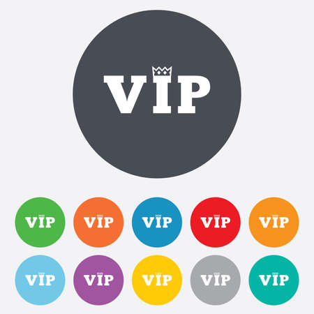 very important person: Vip sign icon. Membership symbol. Very important person. Round colourful 11 buttons. Vector