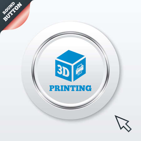 3D Print sign icon. 3d cube Printing symbol. Additive manufacturing. White button with metallic line. Modern UI website button with mouse cursor pointer. Vector Vector