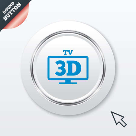 3D TV sign icon. 3D Television set symbol. New technology. White button with metallic line. Modern UI website button with mouse cursor pointer. Vector Vector