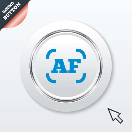 autofocus: Autofocus photo camera sign icon. AF Settings symbol. White button with metallic line. Modern UI website button with mouse cursor pointer. Vector