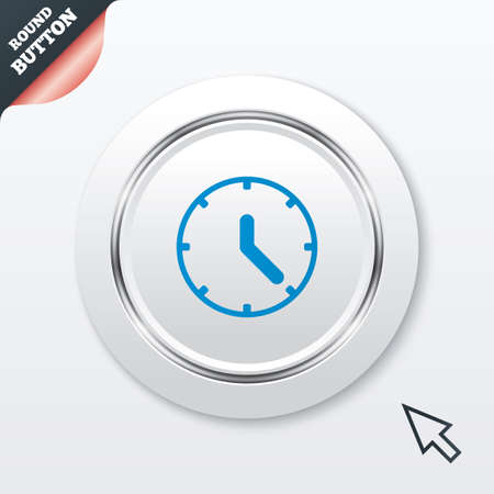mechanical mouse: Clock sign icon. Mechanical clock symbol. White button with metallic line. Modern UI website button with mouse cursor pointer. Vector