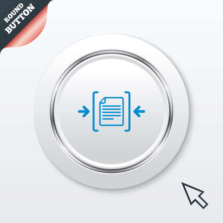 Archive file sign icon. Compressed zipped file symbol. Arrows. White button with metallic line. Modern UI website button with mouse cursor pointer. Vector Vector