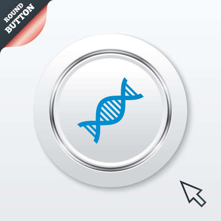 acid deoxyribonucleic: DNA sign icon. Deoxyribonucleic acid symbol. White button with metallic line. Modern UI website button with mouse cursor pointer. Vector
